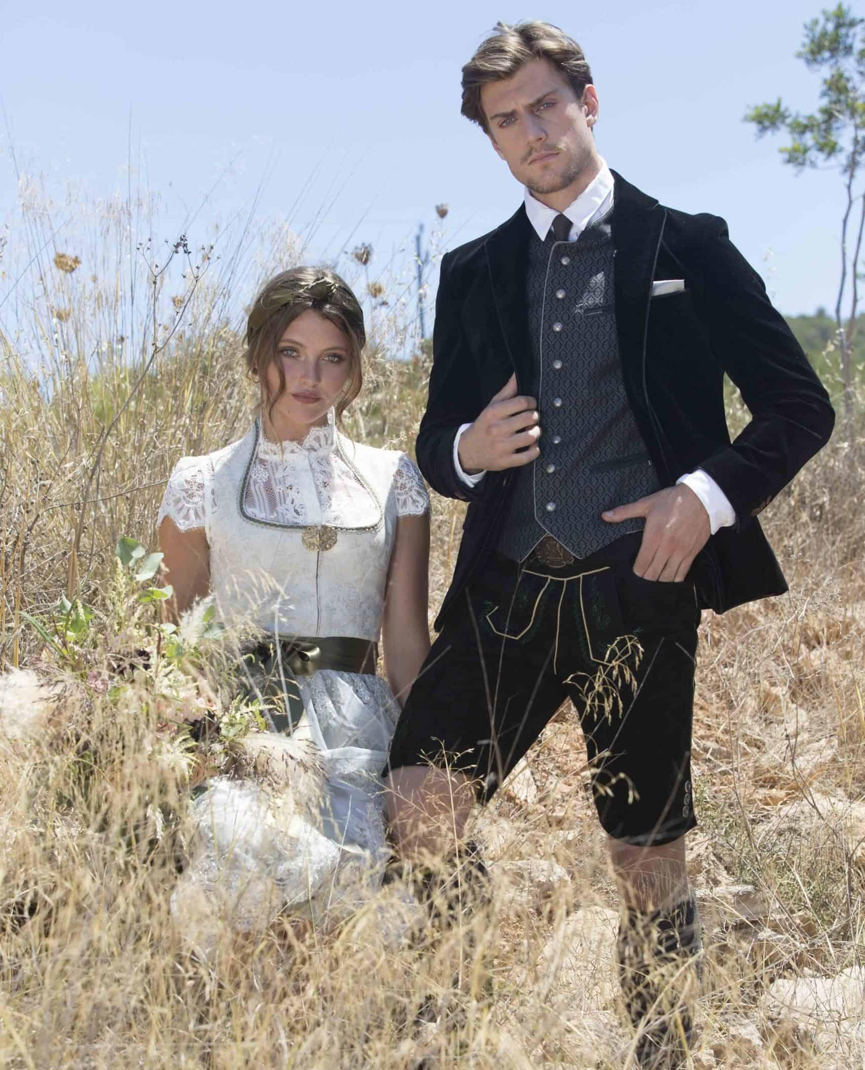 Hochzeitstracht für Braut und Bräutigam